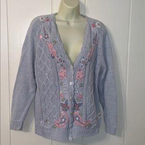Vtg 80s/90s light blue floral embroidered cardigan